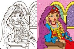 Colouring Book Of Russian Princess Stock Photos