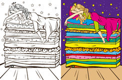 Colouring Book Of Sleeping Beauty. Colouring book vector illustration of beautiful angel girl on the balcony vector illustration