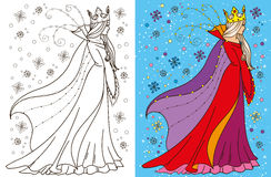 Colouring Book Of Snow Queen. Colouring book vector illustration of beautiful snow queen in winter stock illustration