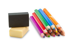 Colouring crayon pencils with erasers Stock Image