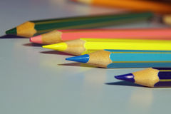 Colouring crayon pencils isolated on white background Stock Photography
