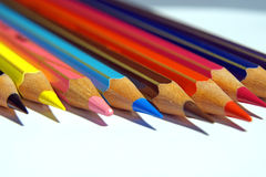 Colouring crayon pencils isolated on white background Royalty Free Stock Images