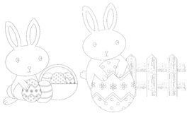 Colouring easter bunnies. Illustration of two cute easter bunnies in B/W, cartoon style; colouring for children Stock Photo