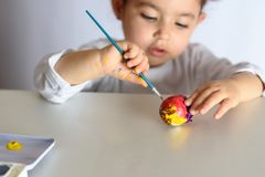 Colouring eggs for easter time at home. stock images