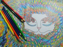 Colouring. Mindfulness colouring sketch royalty free stock photography