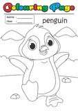 Colouring Page/ Colouring Book Penguin. Grade easy suitable for kids. Animal Colouring Page/ Colouring Book Set. Grade easy suitable for kids under 5 years old royalty free illustration