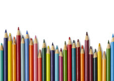 Colouring pencil border - white. Colouring pencils on a white background Royalty Free Stock Images