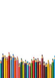 Colouring pencil border - white. Colouring pencils on a white background Royalty Free Stock Photos