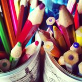 Colouring Pencils. Colouring Pencil Pots for drawing and creating Royalty Free Stock Photo