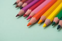 colouring pencils on color background royalty free stock photography