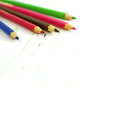 Colouring pencils with drawing Stock Photo