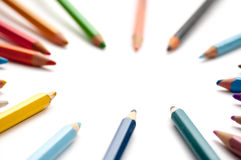 Colouring pencils framing. Lots of colouring pencils framing Royalty Free Stock Image