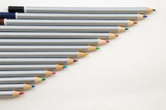 Colouring Pencils in a line. Different coloured Colouring Pencils in a line Royalty Free Stock Photography