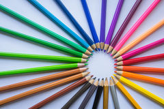 Colouring pencils. A selection of colouring pencils Stock Photos