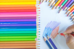 Colouring pencils. A selection of colouring pencils with copy space avavilabel stock images