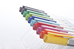 Colouring pens - different colours in a line Royalty Free Stock Image