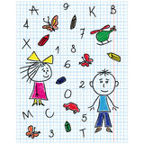 Colouring school kit on notebook sheet Stock Image