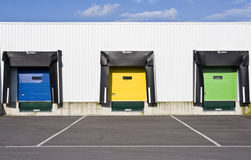 Colouristic doors of a loading platform Royalty Free Stock Image