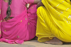 Colours. Women with saris near Ganges in India Royalty Free Stock Photo