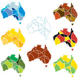 Colours of Australia. A set of maps of Australia illustrating the natural and national colours of the country Royalty Free Stock Image