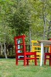 Colours. Chair, garden, red, yellow Stock Image