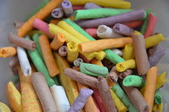 Colours. Colorful sticks - in purple and yellow and others stock image
