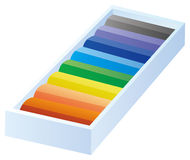 The colours crayon. With box in a white background Stock Photography