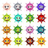 Colours different suns faces Royalty Free Stock Image