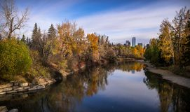 The colours of Elbow River banks on a fall morning. stock photos