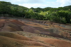 Colours in the ground. This is the Seven Colours Earth at Chamarel, Mauritius Island Stock Photos