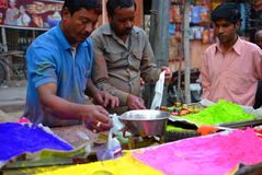 Colours for Holi festival on sale at a market. Jaipur. Rajasthan. India Royalty Free Stock Image