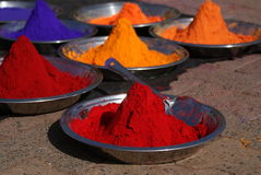 Colours of India. Colourful powders used for religious purposes by indian people in a special box, Orccha, India Stock Images