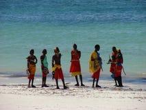 Colours of Kenya I. A group of Masai on the tropical beach - Kenya 2007 Stock Image