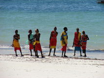 Colours of Kenya II. A group of Masai on the tropical beach - Kenya 2007 Royalty Free Stock Images