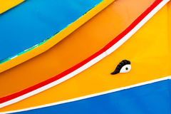 Colours of the Maltese Dghajsa. Abstract close up view of the vibrant colours and design usually used on the traditional Maltese fishing boat, the Dghajsa or Royalty Free Stock Photography
