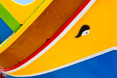 Colours of the Maltese Dghajsa. Abstract close up view of the vibrant colours and design usually used on the traditional Maltese fishing boat, the Dghajsa or Royalty Free Stock Image