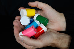 Colours in the man hand Royalty Free Stock Photo