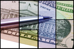 Colours of the money. In various frames seperated by black lines Stock Images