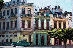 The colours oh Havana: palaces, car, life. Royalty Free Stock Images