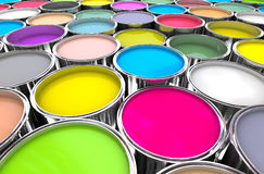 Colours paint can background. 3d image of 3d paint tank background Stock Image