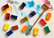 Colours and a paintbrush. For drawing Royalty Free Stock Photos