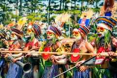 Colours in Papua New Guinea. Hagen show, Papua New Guinea - circa August 2015: Native men during Hagen show, Papua New Guinea. Documentary editorial Royalty Free Stock Images