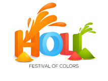 Colours plate with 3D text for Holi celebration. 3D colourful text Holi with colour plates for Indian Festival of Colours celebration Stock Photos