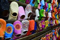 Colours of the slippers in Marakech market stock photography