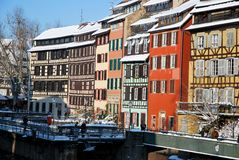 The colours of Strasbourg houses during winter Stock Image