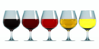 Colours of wine. Wine glasses with different colours of wine on white background Stock Image