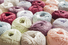 Colours of yarns in white background Royalty Free Stock Images