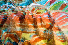 Colorful pattern on rainbow mountains royalty free stock image