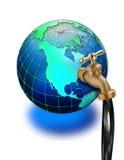 Colpetto dell'olio sul globo del mondo illustrazione di stock