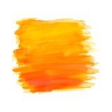 Colpi astratti della spazzola, acquerello arancio Immagini Stock